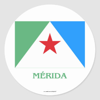 Mérida Flag with Name Classic Round Sticker