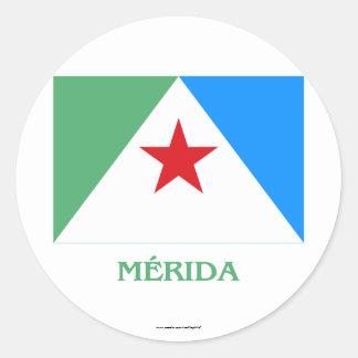 Mérida Flag with Name Round Sticker