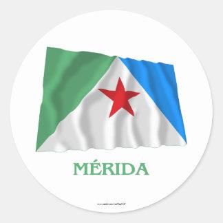 Mérida Waving Flag with Name Round Sticker