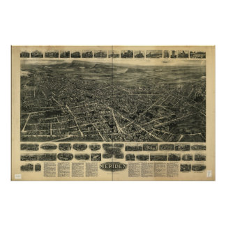 Meriden Connecticut 1918 Antique Panoramic Map Poster