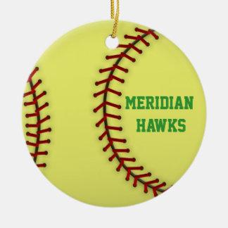 Meridian Hawks Softball Christmas Ornament