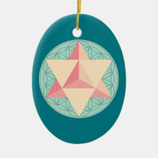Merkaba on Flower of life Christmas Ornament