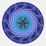 Merkaba Spiral Mandala Blue Fractal Sticker