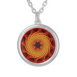 Merkaba Spiral Mandala Red Fractal Necklace