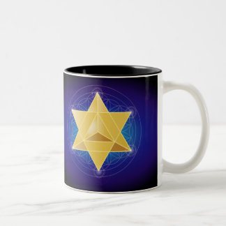 Merkaba with Flower of Life Two-Tone Coffee Mug