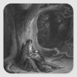 Merlin and Vivien by Gustave Doré 1868 Square Stickers