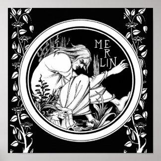 Merlin Art Nouveau fantasy Poster