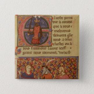 Merlin tutoring Arthur 15 Cm Square Badge