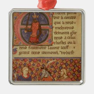 Merlin tutoring Arthur Silver-Colored Square Decoration