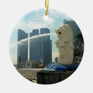 Merlion Sculpture Singapore Round Ceramic Decoration