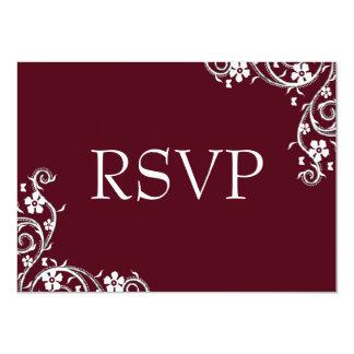 Merlot Floral Swirls RSVP Card 11 Cm X 16 Cm Invitation Card