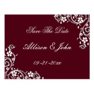 Merlot Floral Swirls Save The Date Postcard
