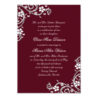 Merlot Floral Swirls Wedding Invitation