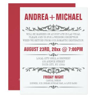 Merlot & Gray Wedding Reception ONLY Invitations