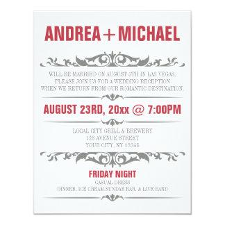 Merlot & Grey Wedding Reception ONLY Invitations