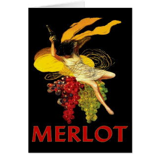 Merlot Maid With Grapes Greeting Card