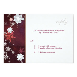 Merlot n White Cute Floral Winter Wedding RSVP 9 Cm X 13 Cm Invitation Card