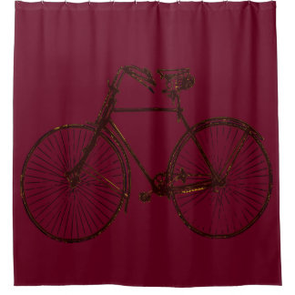 Merlot red gold yellow bicycle 🚵 Shower curtain