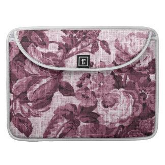 Merlot Red Vintage Floral Toile No.5 MacBook Pro Sleeves