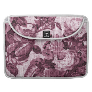 Merlot Red Vintage Floral Toile No.5 Sleeve For MacBooks