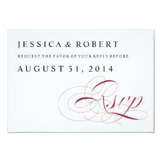 Merlot Red & White Traditional Wedding RSVP Card 9 Cm X 13 Cm Invitation Card