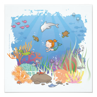 Mermaid 13 Cm X 13 Cm Square Invitation Card