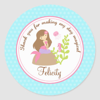 Mermaid 2inch round personalized favor tag
