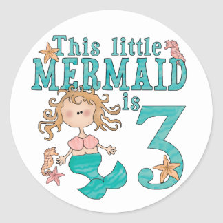 Mermaid 3rd Birthday Round Sticker