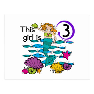 Mermaid 3rd Birthday T shirts and Gifts Post Cards