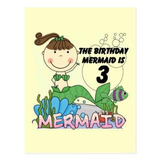 Mermaid 3rd Birthday Tshirts and Gifts Postcard