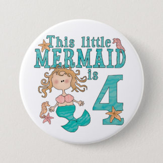 Mermaid 4th Birthday 7.5 Cm Round Badge