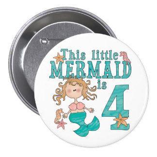 Mermaid 4th Birthday 7.5 Cm Round Badge