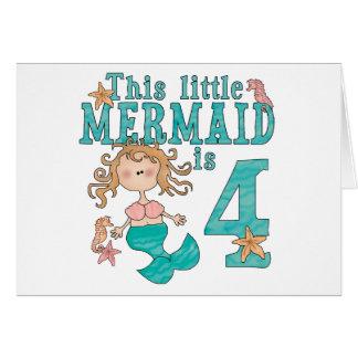 Mermaid 4th Birthday Invitations