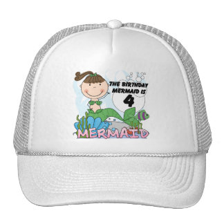 Mermaid 4th Birthday T-shirts and Gifts Trucker Hat