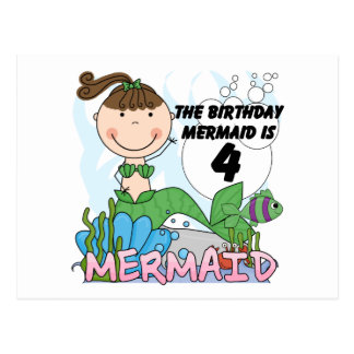 Mermaid 4th Birthday T-shirts and Gifts Postcards
