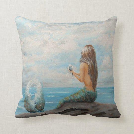 mermaid accent throw pillow, beach house decor cushion