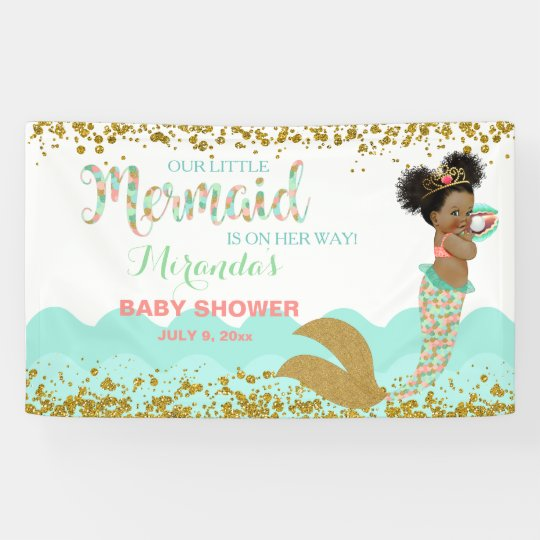 Mermaid African American Girl Coral Mint Gold Banner