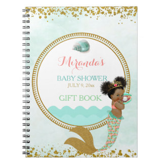 Mermaid African American Girl Peach Mint Gold Notebooks