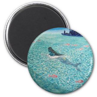 Mermaid against the Tide 6 Cm Round Magnet