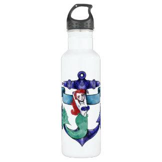 Mermaid anchor tattoo illustration 710 ml water bottle