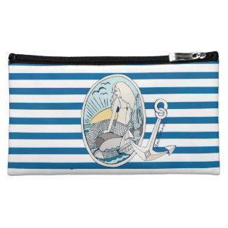 Mermaid and Anchor Blue and White Stripe Bag Cosmetics Bags