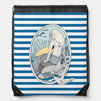 Mermaid and Anchor Blue and White Stripe Bag Rucksacks