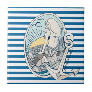 Mermaid and Anchor Blue and White Stripe Tile