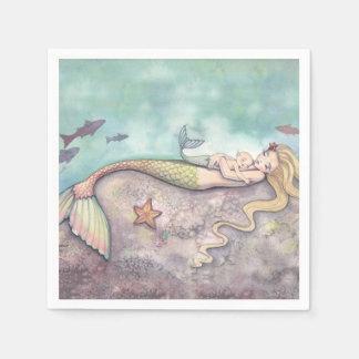 Mermaid and Baby Baby Shower Napkins Paper Napkin