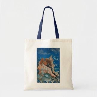 Mermaid and Big Seashell Tote Bag