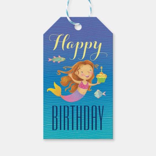 Mermaid and Cupcake Birthday Gift Tags