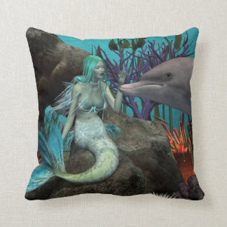 Mermaid and Dolphin Cushion