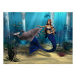 Mermaid and Dolphin Poster
