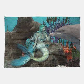 Mermaid and Dolphin Tea Towel