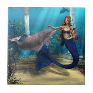 Mermaid and Dolphin Tile